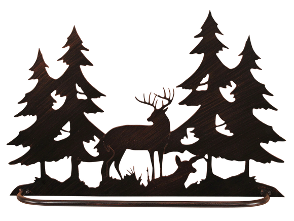 Iron Deer Scene Towel Bar - Coast Lamp Shop