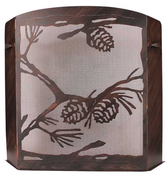 Small Iron Pine Cone Scene Fireplace Screen - Coast Lamp Shop