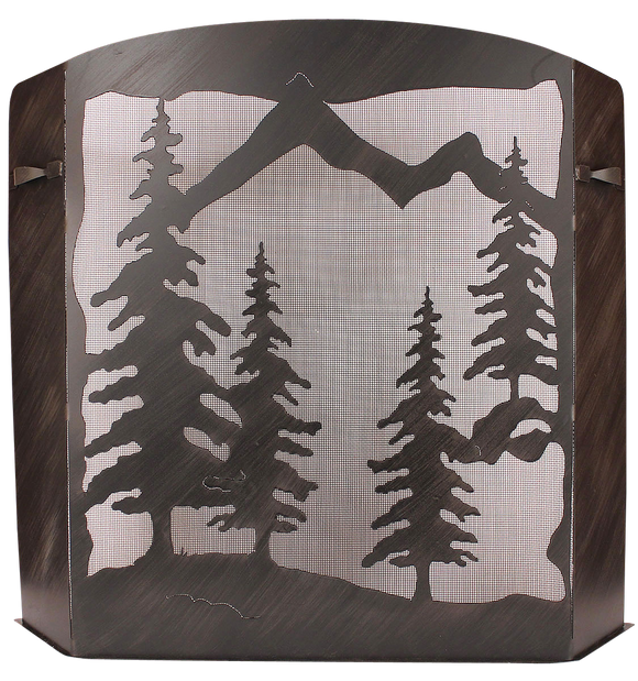 Small Iron Pine Tree Scene Fireplace Screen - Coast Lamp Shop