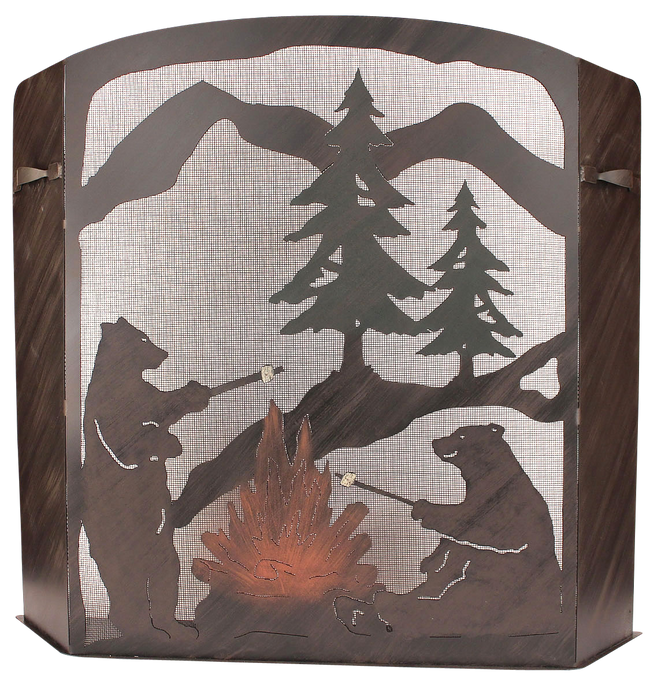Small Iron Bears Roasting Marshmallows Scene Fireplace Screen - Coast Lamp Shop