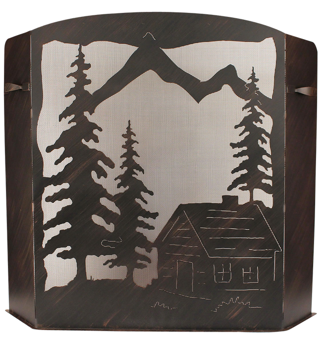 Small Iron Cabin Scene Fireplace Screen - Coast Lamp Shop
