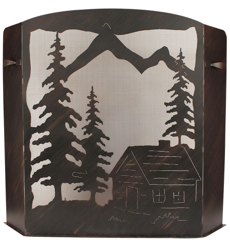 Cabin Scene Wood Holder