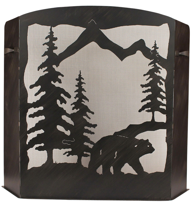 Small Iron Bear Scene Fireplace Screen - Coast Lamp Shop