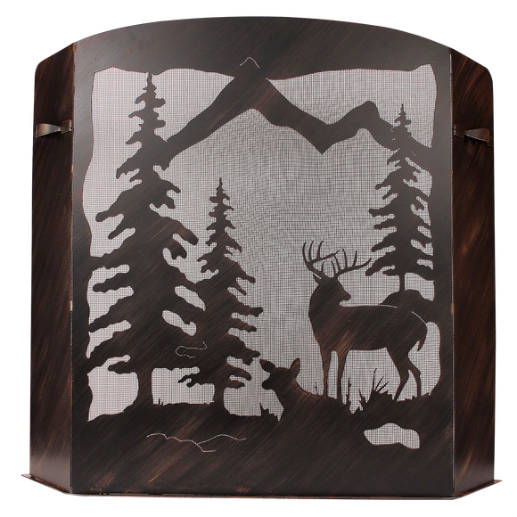 Small Iron Deer Scene Fireplace Screen - Coast Lamp Shop
