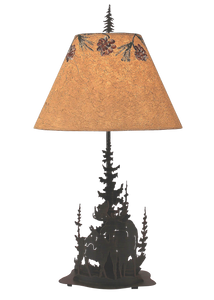 Burnt Sienna Feather Tree/Moose Scene Table Lamp - Coast Lamp Shop