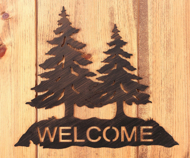 Iron Pine Tree Welcome Sign - Coast Lamp Shop