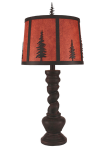 Burnt Sienna Country Twist Table Lamp w/ Iron Tree Shade - Coast Lamp Shop