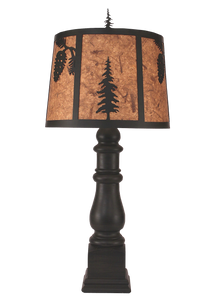 Kodiak Country Squire Table Lamp w/ Iron Pine Cone and Tree Shade - Coast Lamp Shop