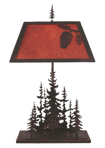 Burnt Sienna Iron Rectangle Feather Pine Tree Table Lamp w/ Iron Pine Cone Shade - Coast Lamp Shop