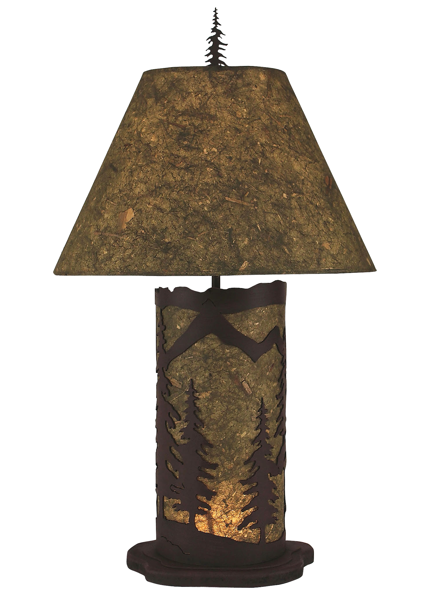 Forest Small Mountain Scene Table Lamp w/ Night Light - Coast Lamp Shop