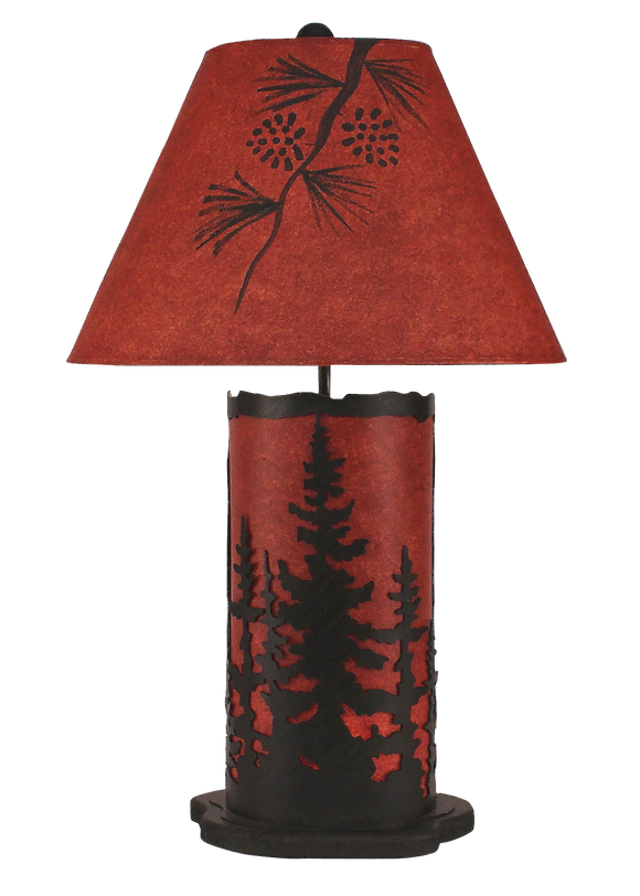 Burnt Sienna Small Feather Tree Table Lamp w/ Night Light - Coast Lamp Shop
