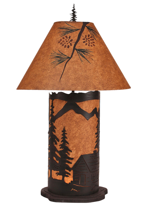 Kodiak Large Cabin Scene Table Lamp w/ Night Light - Coast Lamp Shop