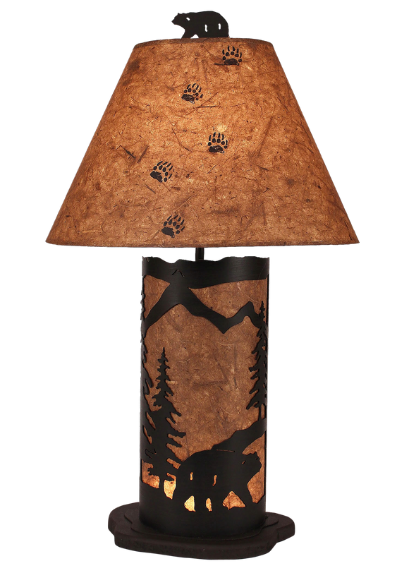 Kodiak Small Bear Scene Table Lamp w/ Night Light - Coast Lamp Shop