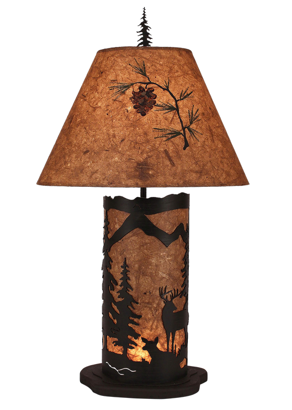 Kodiak Small Deer Scene Table Lamp w/ Night Light - Coast Lamp Shop