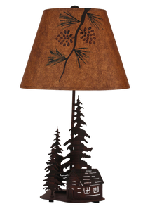 Burnt Sienna 2 Tree and Cabin Accent Lamp w/ Night Light - Coast Lamp Shop