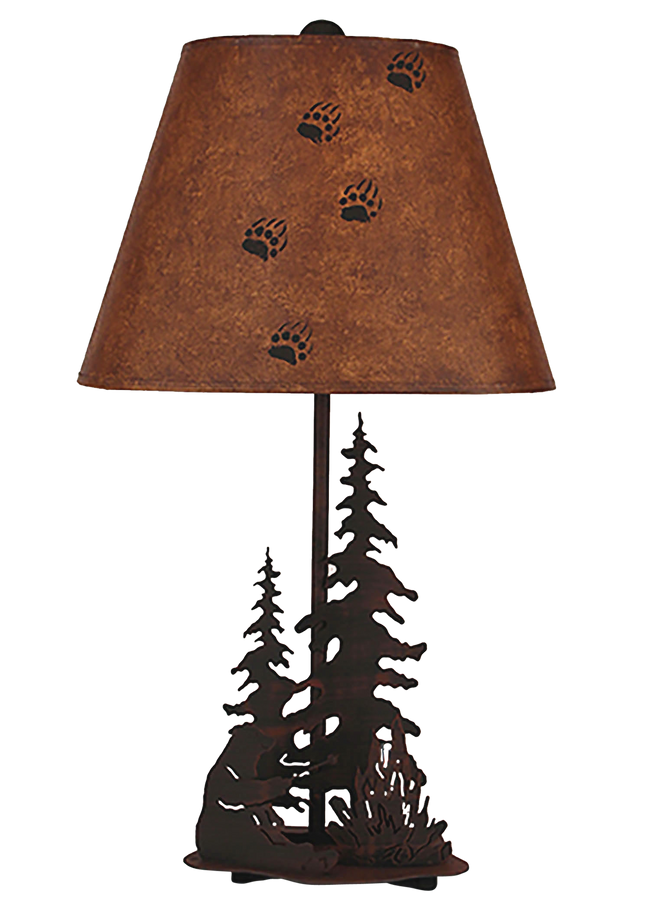 Burnt Sienna Small Bear Roasting Marshmallow Accent Lamp w/ Night Light - Coast Lamp Shop