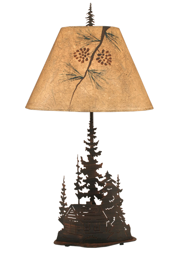 Burnt Sienna Large Cabin and Trees Table Lamp - Coast Lamp Shop