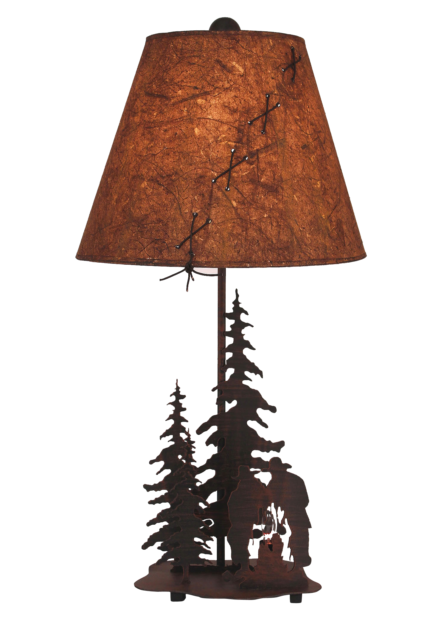 Burnt Sienna Small Cowboys Around Campfire Accent Lamp w/ Night Light - Coast Lamp Shop