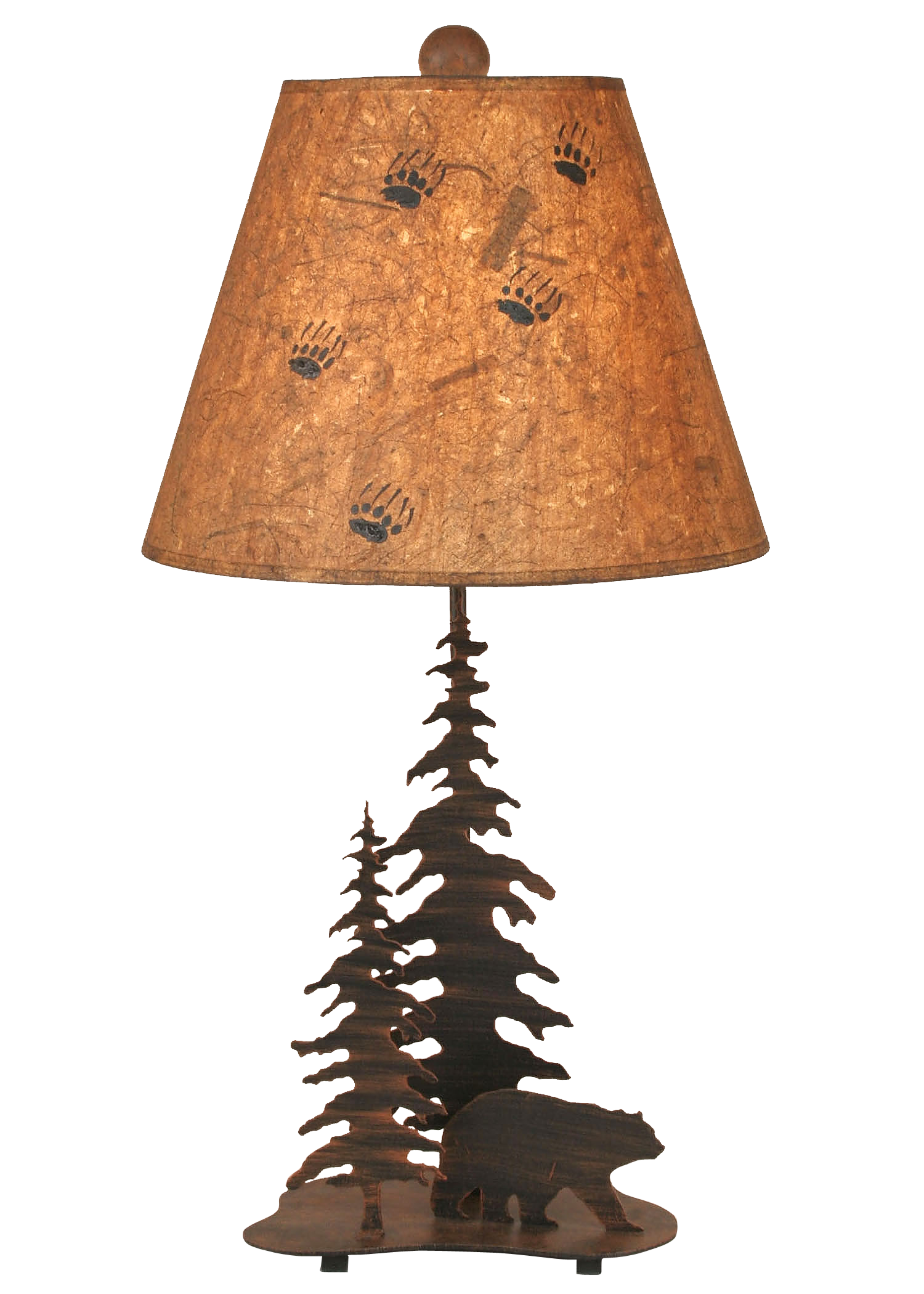 Burnt Sienna 2 Tree and Bear Accent Lamp - Coast Lamp Shop