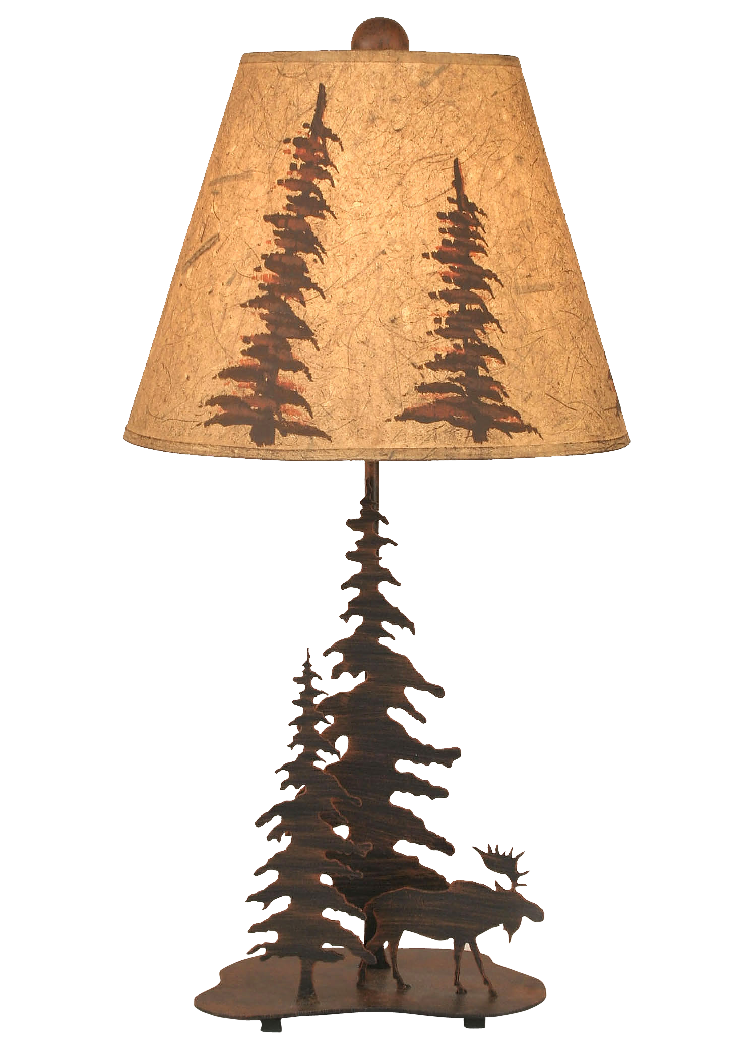 Burnt Sienna 2 Tree and Moose Accent Lamp - Coast Lamp Shop
