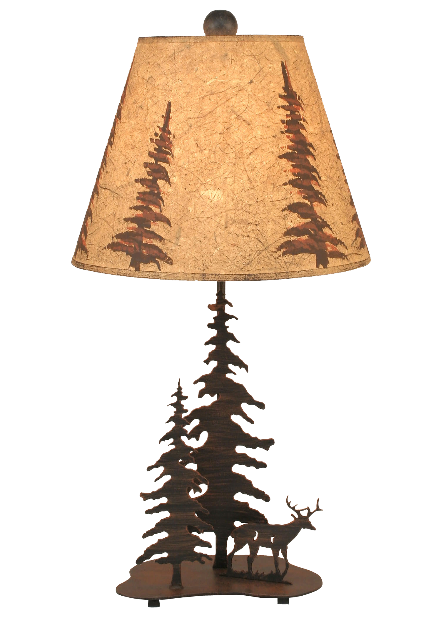 Burnt Sienna 2 Tree and Deer Accent Lamp - Coast Lamp Shop