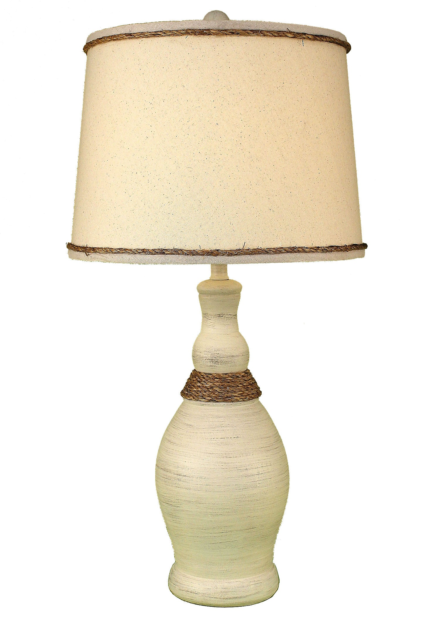 Cottage Slender Neck Table Lamp w/ Weathered Rope Accent Lamp - Coast Lamp Shop