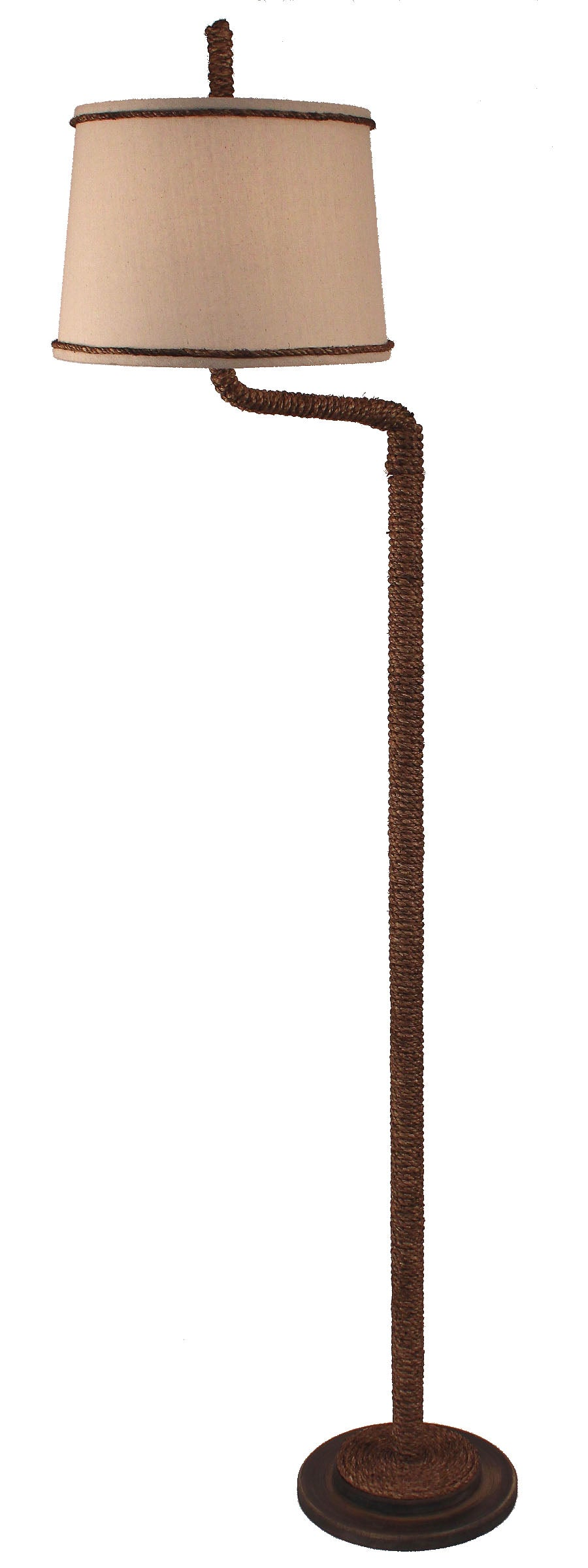 Dark Sandalwood Manila Rope Swing Arm Floor Lamp - Coast Lamp Shop