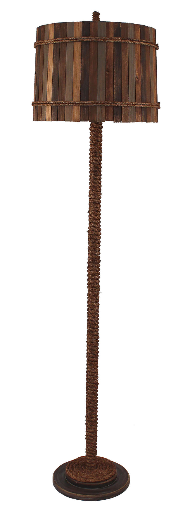 Dark Sandalwood Manila Rope Floor Lamp - Coast Lamp Shop