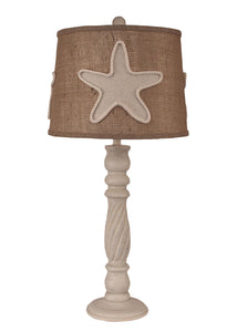 Cottage Swirl Table Lamp w/ Linen Starfish Shade - Coast Lamp Shop