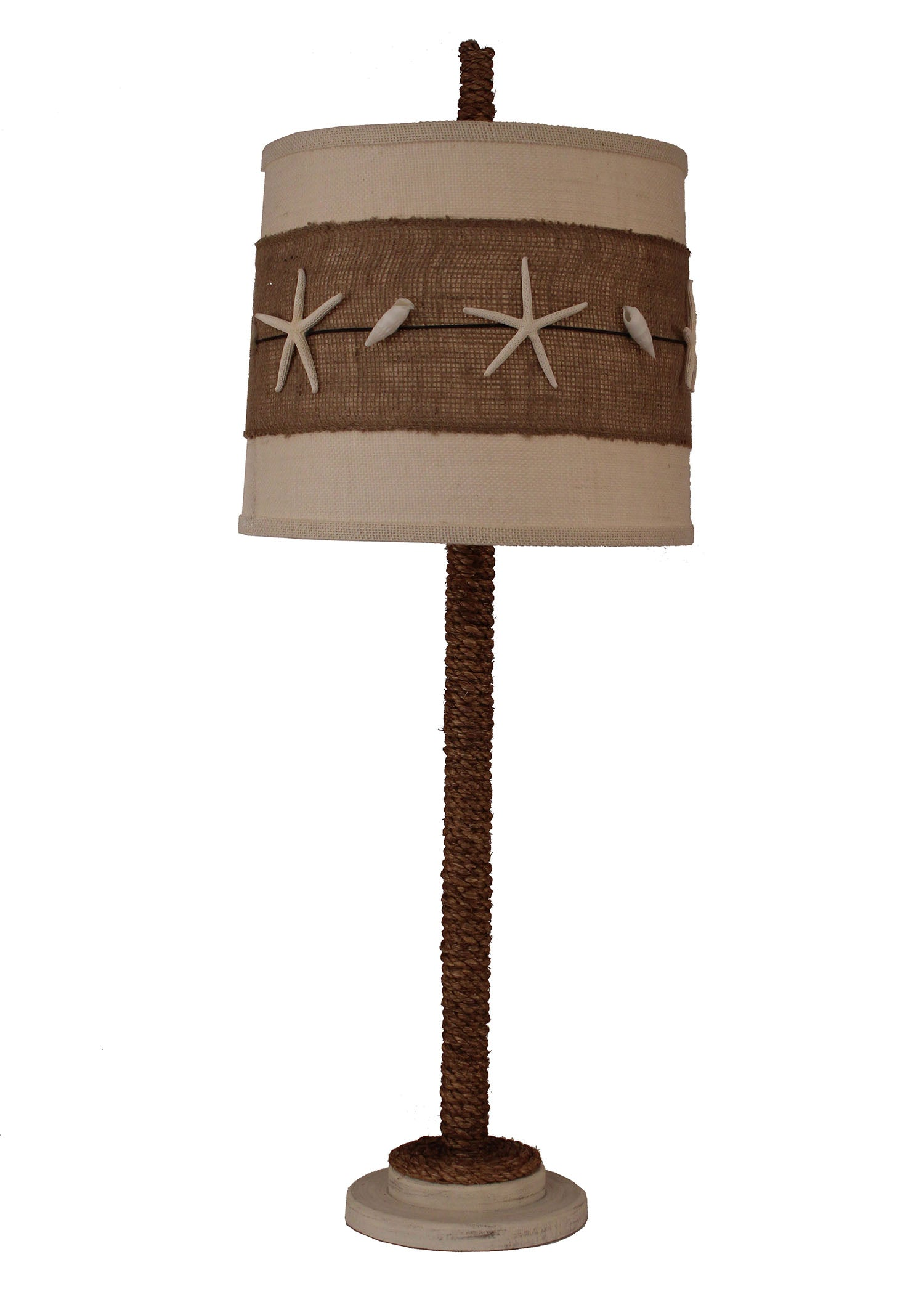 Cottage Manila Rope Table Lamp w/ Burlap and Star Fish Shade - Coast Lamp Shop