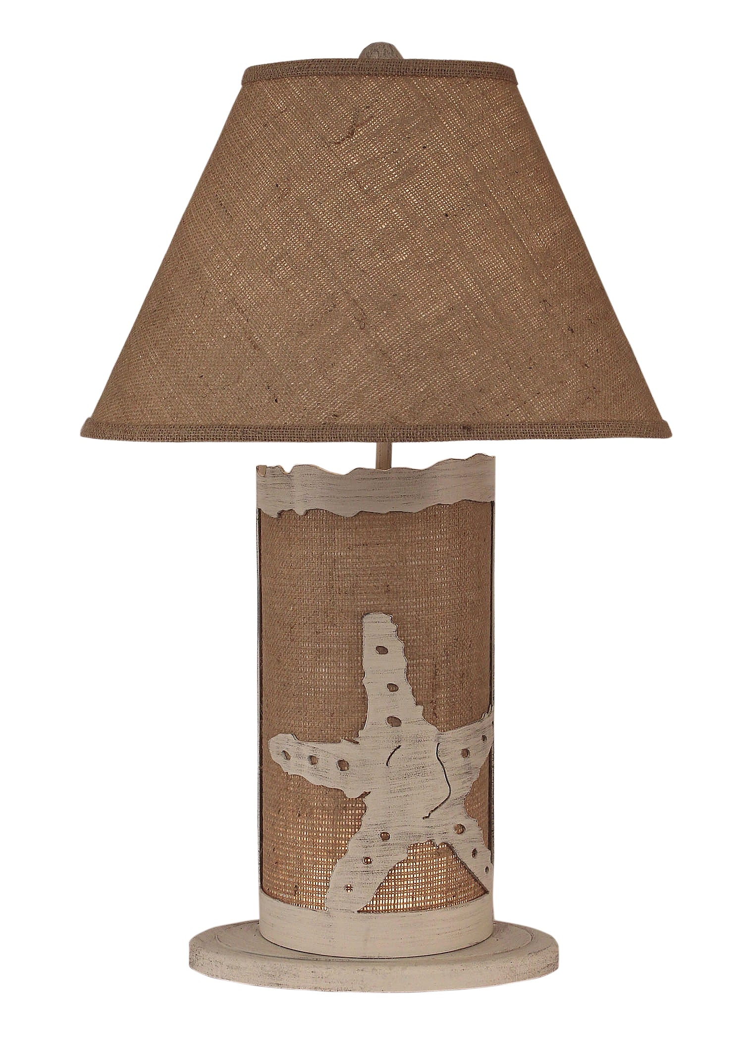Cottage/Burlap Star Fish Table Lamp w/ Night Light - Coast Lamp Shop