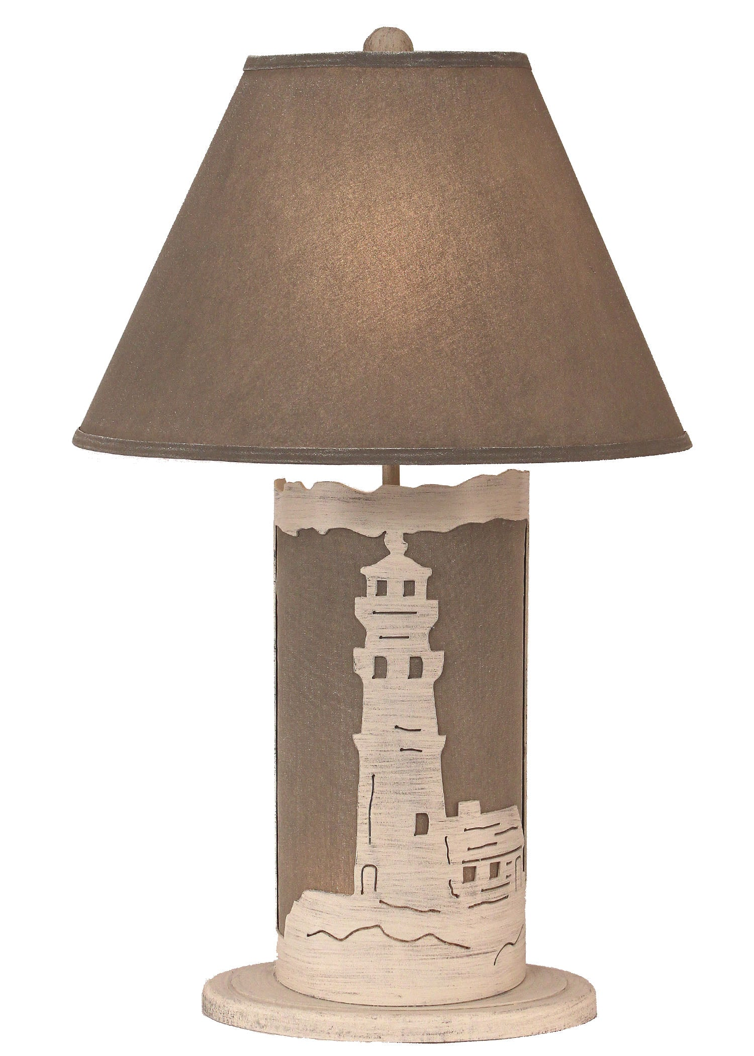 Cottage/Grey Light House Table Lamp w/ Night Light - Coast Lamp Shop