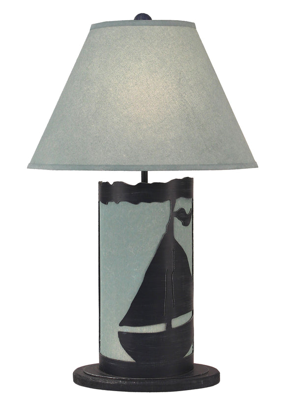 Navy/Atlantic Grey Sail Boat Table Lamp w/ Night Light - Coast Lamp Shop