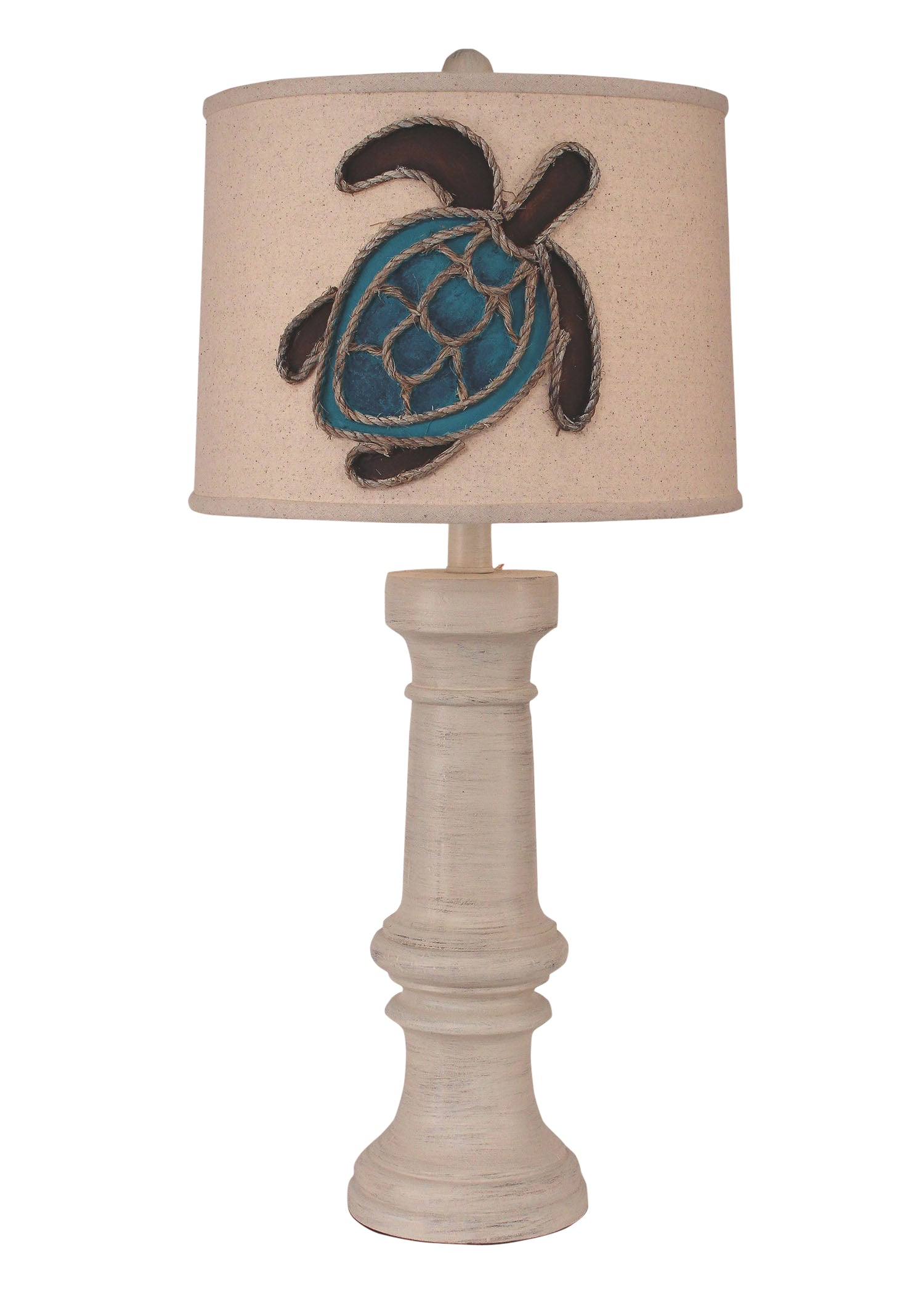 Chunky Casual Table Lamp w/ Turtle Shade - Coast Lamp Shop