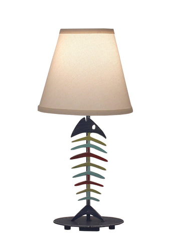 Dark Bronze Iron Swing Arm Table Lamp with Wooden Base- Bear and Pine Tree Accent