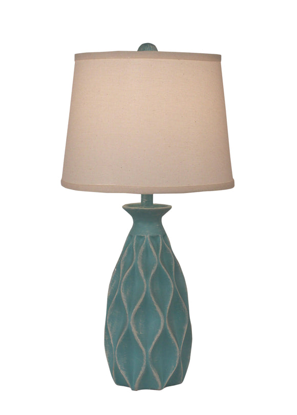 Weathered Turquoise Sea Tall Indented Diamond Table Lamp - Coast Lamp Shop