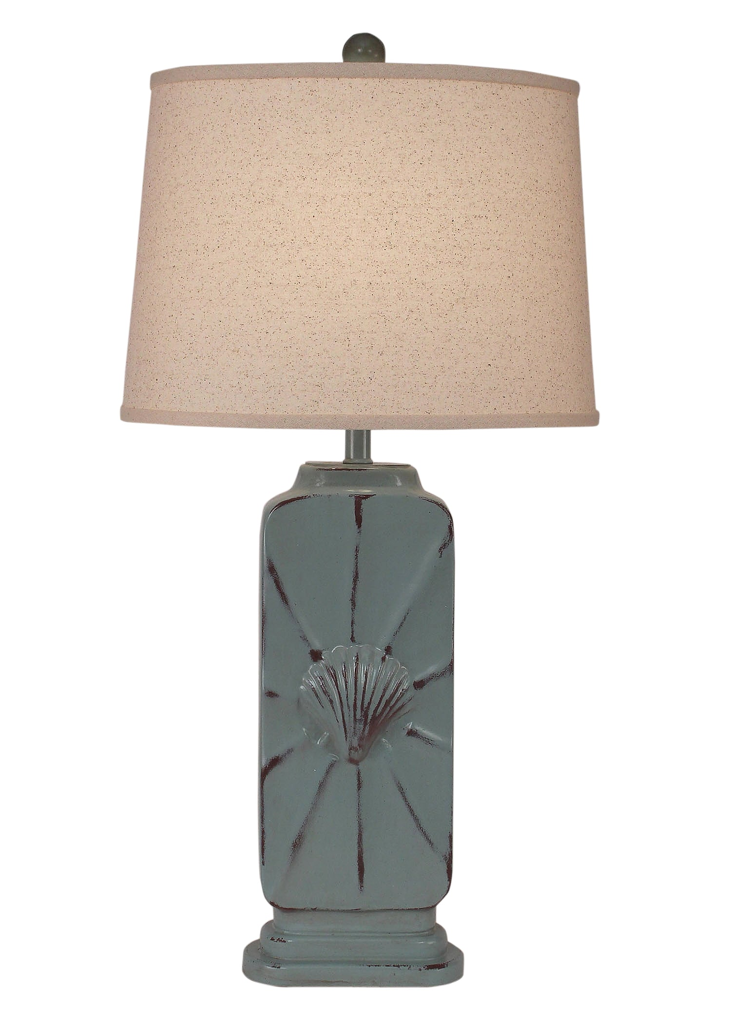 Distressed Seamist Twistsed Tall Rectangle Table Lamp w/Shell Accent - Coast Lamp Shop