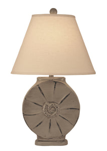Oyster Shell Round Table Lamp w/ Rope Accent - Coast Lamp Shop
