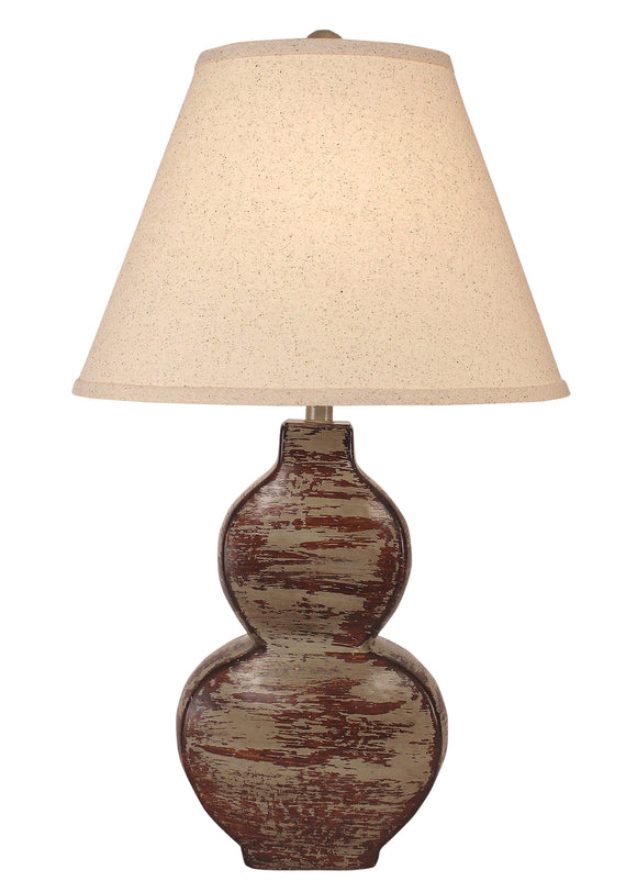 Heavy Aged Pale Grey Flat Hour Glass Table Lamp - Coast Lamp Shop