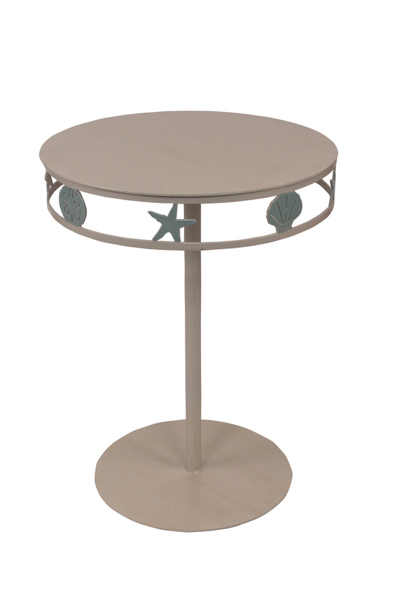 Nude/Atlantic Grey End Table w/Multi Shell Band - Coast Lamp Shop