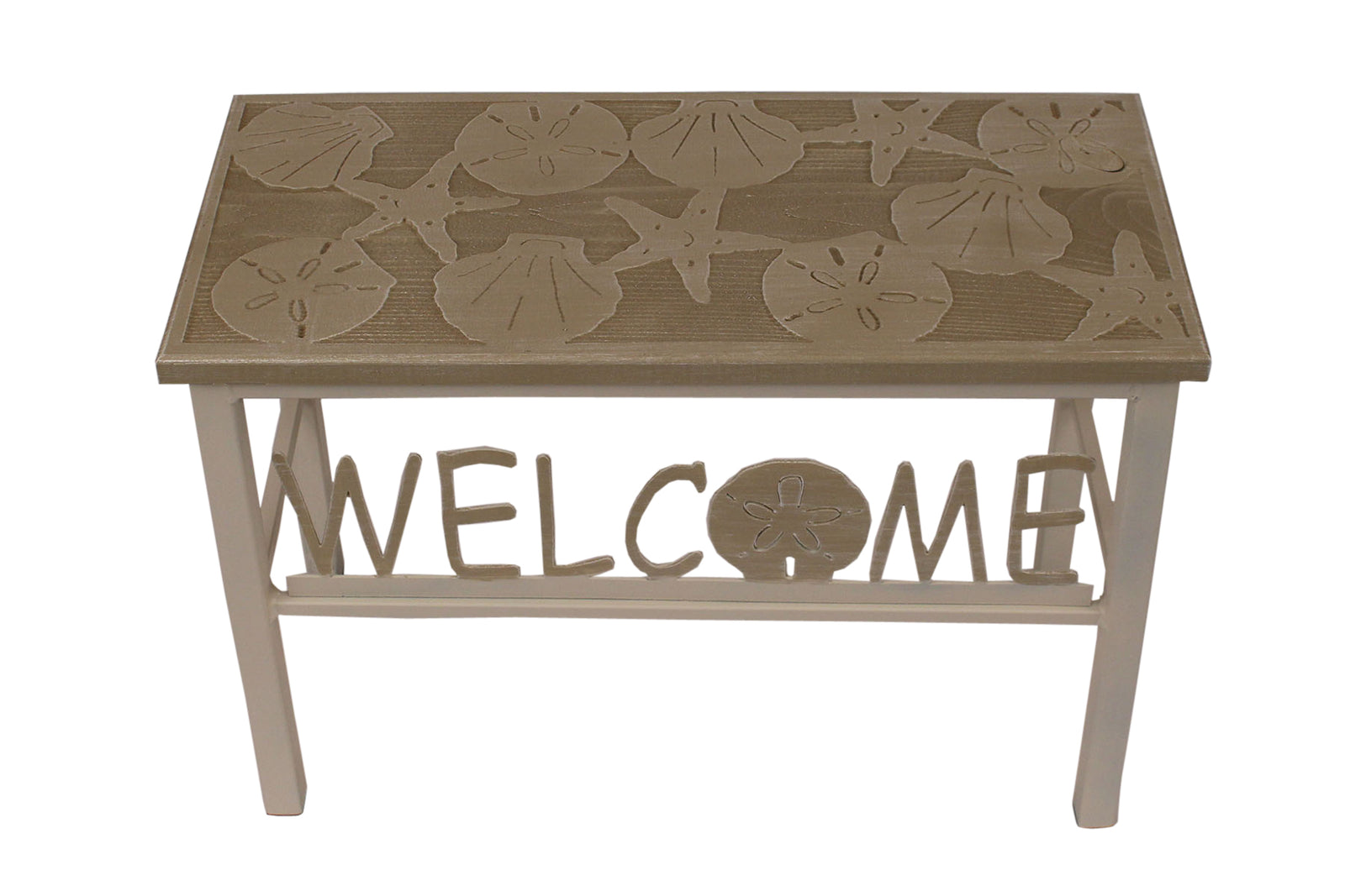 "24"" Cottage/Sisal Welcome Bench w/ Multi Shell Top - Coast Lamp Shop"