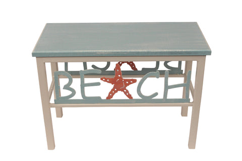 Cottage/Navy Beach Bench w/ Sailboat Accent