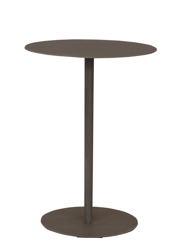 Weathered Pale Grey Drink Table w/Oval Top - Coast Lamp Shop