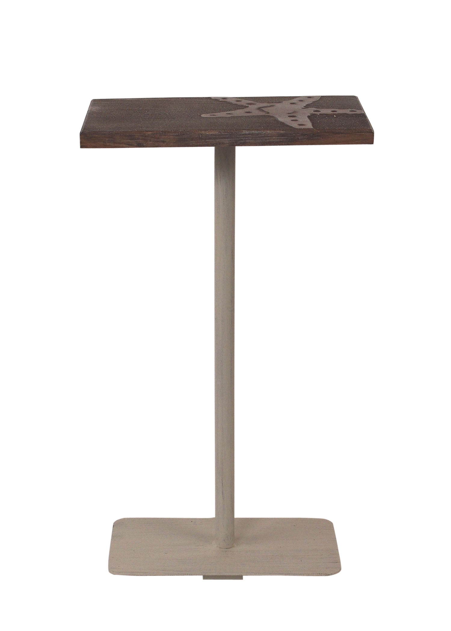 Cottage/Weathered Stain Wood Top Drink Table w/Starfish Accent - Coast Lamp Shop