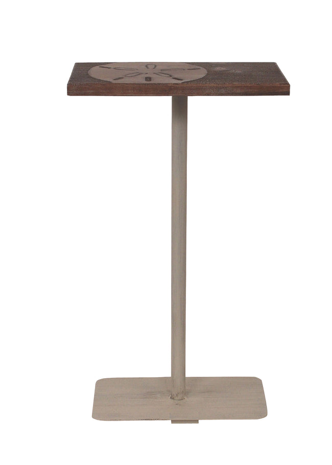 Cottage/Weathered Stain Wood Top Drink Table w/Sand Dollar Accent - Coast Lamp Shop