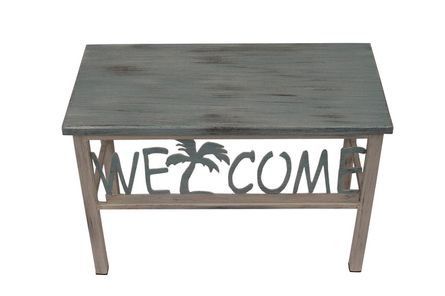 "24"" Cottage/Atlantic Grey Welcome Bench w/ Palm Tree Accent - Coast Lamp Shop"