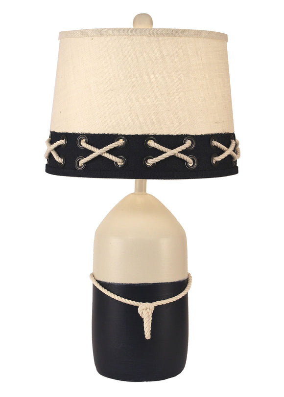Solid Cottage/Navy Large Buoy w/ White Rope Table Lamp - Coast Lamp Shop