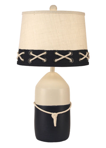 Distressed Black Sectioned Candlestick Table Lamp w/ Moose and Trees Shade