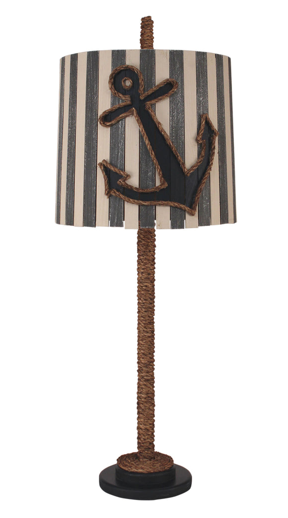 Solid Navy Manila Rope Table Lamp w/ Striped Anchor Shade - Coast Lamp Shop