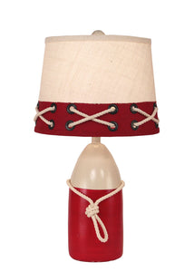 Solid Cottage/Red Small Buoy w/ White Rope Accent Lamp - Coast Lamp Shop
